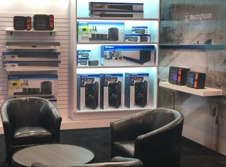 Photo of Westinghouse audio and speaker products at CES