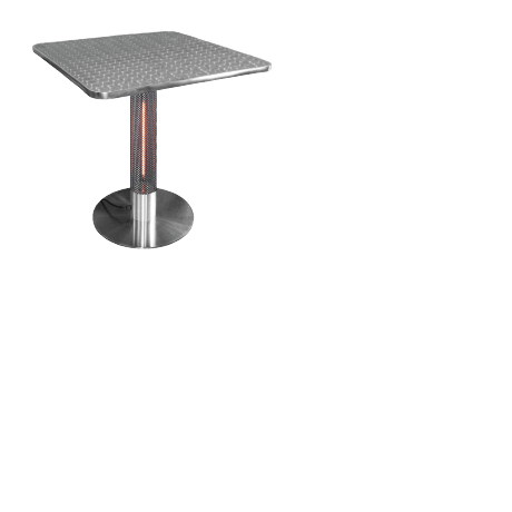 The new under the table patio infrared heater is practical, water resistant and energy efficient. With cool-touch technology, the heating tower is safe to the touch.