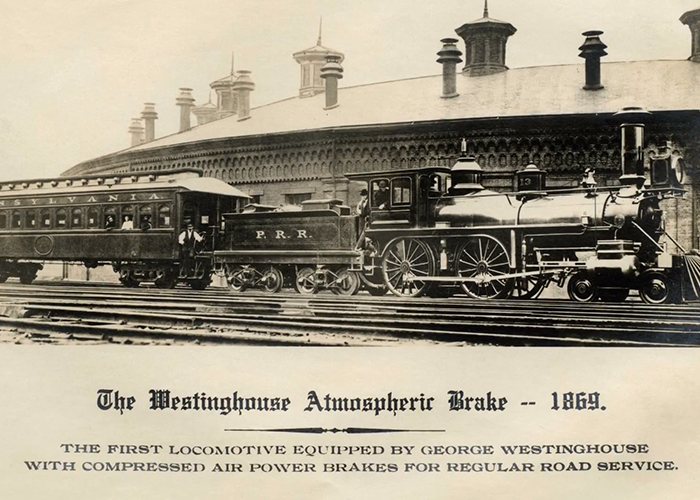 Photo of train using air brake.