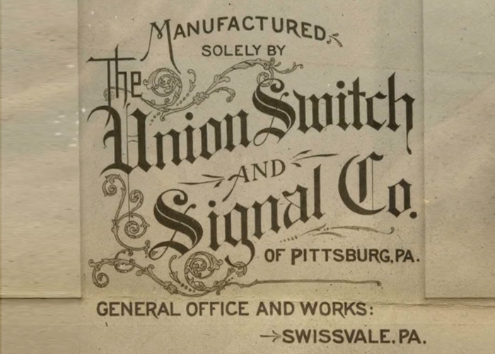Union Switch and Signal Company written in script. General office and works in Swissvale, PA.
