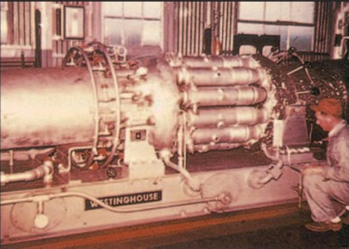 Photo of gas turbine installed at the Mississippi River Fuel Corp in Wilmar, Arkansas.