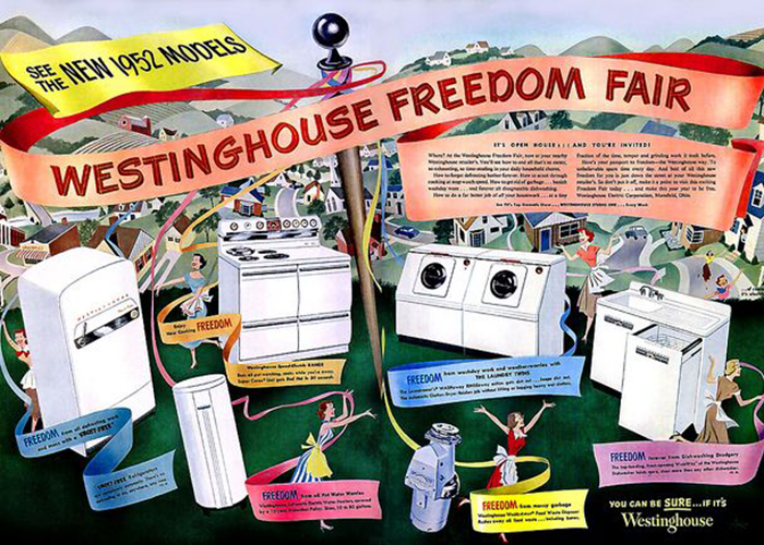 Westinghouse markets its appliance line with the Freedom Fair advertising campaign.