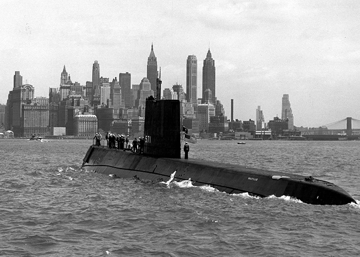 Photo of USS Nautilus, the world's first nuclear submarine.