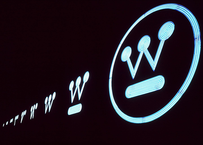 Neon sign of Westinghouse Circle W logo.