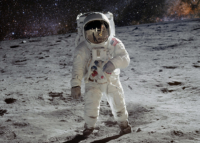 Photo of astronaut on the moon.