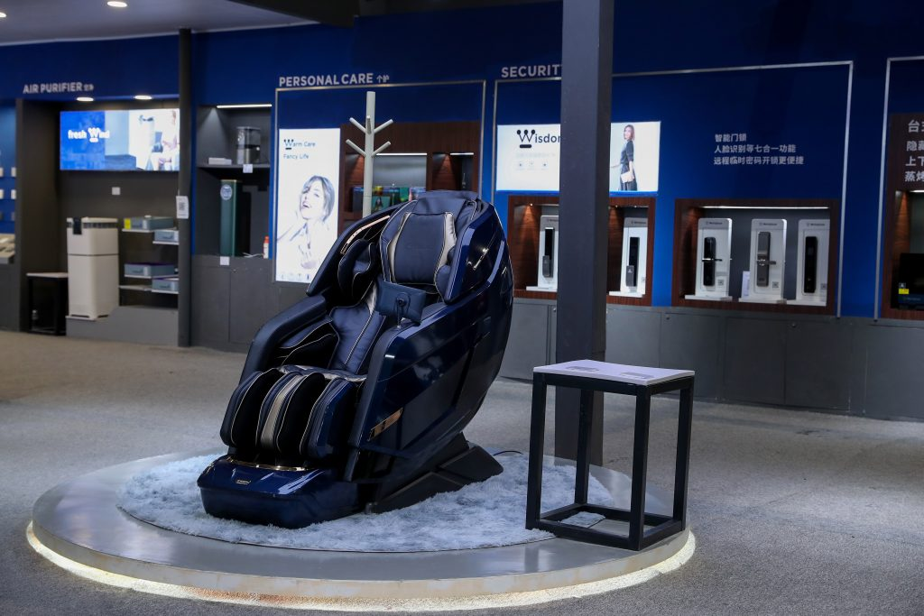 Westinghouse massage chair on display at AWE 2021 in Shanghai, China.